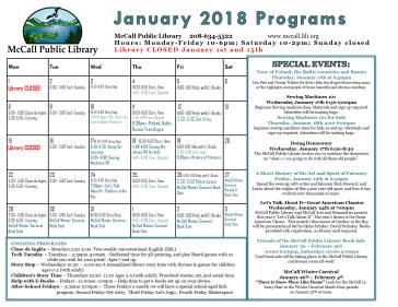 January programs calendar