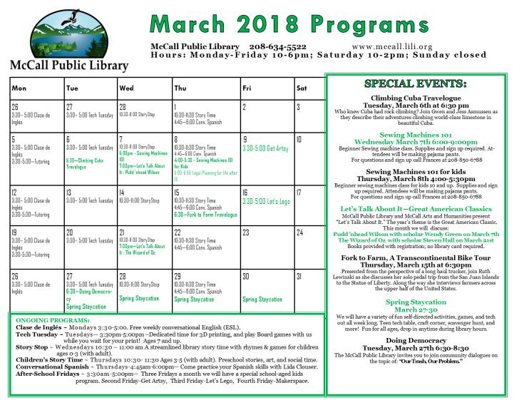 march programs calendar